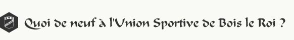 Quoi de neuf à l'Union Sportive de Bois-le-Roi ?