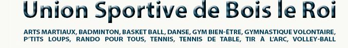 Union Sportive de Bois-le-Roi - Arts Martiaux, Badminton, Basket Ball, Danse, Gym bien-être, Gymnastique Volontaire, P'tits Loups, Rando pour tous, Tennis, Tennis de table, Tir à l'arc, Volley-ball